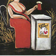 Woman With A Mug Of Beer Poster