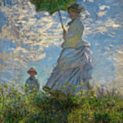 Woman With A Parasol, Madame Monet And Her Son, Claude Monet Digitally Enhanced Poster