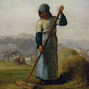Woman With A Rake Poster