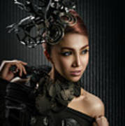 Woman With Black Metallic Headdress Poster