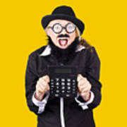 Woman With Electronic Calculator Poster
