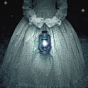 Woman With Lantern Poster