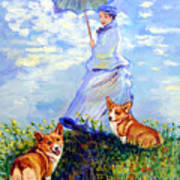 Woman With Parasol And Corgis After Monet Poster