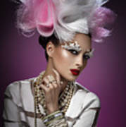 Woman With Pink And White Headpiece In White Dress Poster