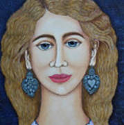 Woman With Silver Earrings Poster