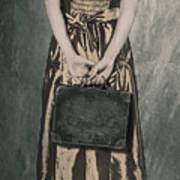 Woman With Suitcase Poster