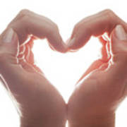 Woman's Hands Make A Heart Shape On White Background, Backlight. Love Poster