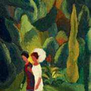 Women In A Park With A White Parasol Poster