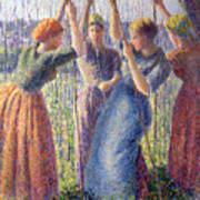 Women Planting Peasticks Poster by Camille Pissarro