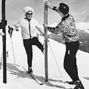 Women Waxing Skis Poster