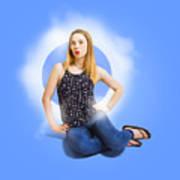Womens Fashion Pinup Model On Blue Studio Lights Poster