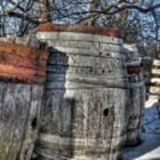 Wood  Barrel Oak Fermentation Whiskey Bourbon Cask Winter Snow Wood Faust Park Poster