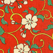 Woodblock Print Of Apple Blossoms Poster