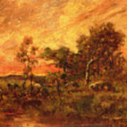 Wooded Landscape With A Faggot Gatherer Poster