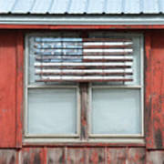 Wooden American Flag On Red Barn Poster
