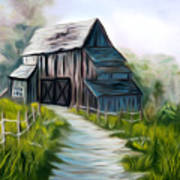 Wooden Barn Dreamy Mirage Poster