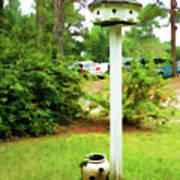 Wooden Bird House On A Pole 6 Poster