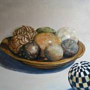 Wooden Bowl With Spheres Poster