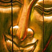 Wooden Buddha Face Poster