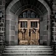 Wooden Church Door In Stone Archway Poster