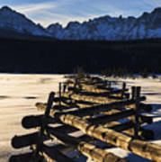 Wooden Fence And Sawtooth Mountain Range Poster