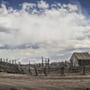 Wooden Fenced Corral Out West Poster