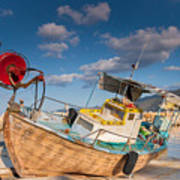 Wooden Fishing Boat On Shore Poster