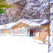 Wooden House In Winter Forest Poster