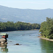 wooden house on rock Drina river Serbia Poster