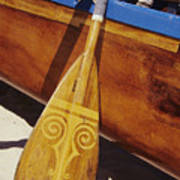 Wooden Paddle And Canoe Poster