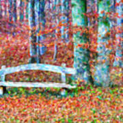 Wooden Park Bench In Dry Leaves  Poster
