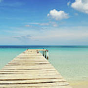 Wooden Pier On A Perfect Tropical Caribbean White Sand Beach Poster