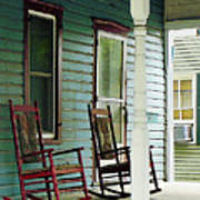 Wooden Rocking Chairs On Porch Poster