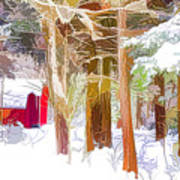 Wooden Shed In Winter Poster