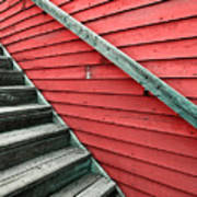 Wooden Steps Against Colourful Siding Poster