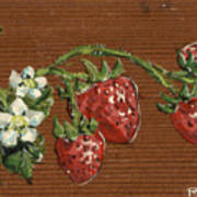 Wooden Strawberries Poster