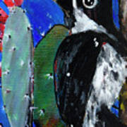 Woodpecker With Prickly Pear Cactus  Poster