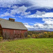 Woodstock Vermont Old Red Barn In Autunm Poster