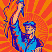 Worker Carrying Flaming Torch Sunburst Poster