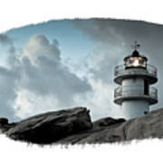 Working Lighthouse Isolated On White Poster
