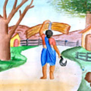 Working Woman Returning Home Poster by Tanmay Singh