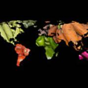World Fruits Vegetables Map Poster