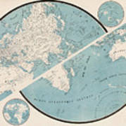 World Map - 1857 Poster