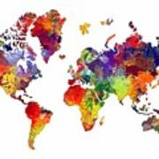 World Map 8 Watercolor Print  Poster