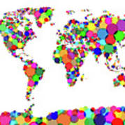 World Map Circles Poster by Michael Tompsett