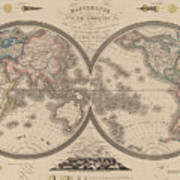 World Map Divided Into Two Hemispheres Poster