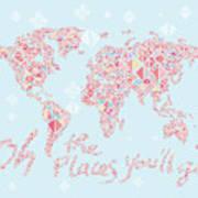 World Map Geometric Pink Mint  Poster