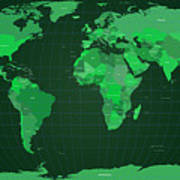 World Map In Green Poster