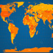 World Map In Orange And Blue Poster by Michael Tompsett