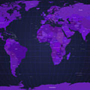World Map In Purple Poster by Michael Tompsett